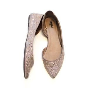 5 for $25: Metallic Studded Nude Suede Flats
